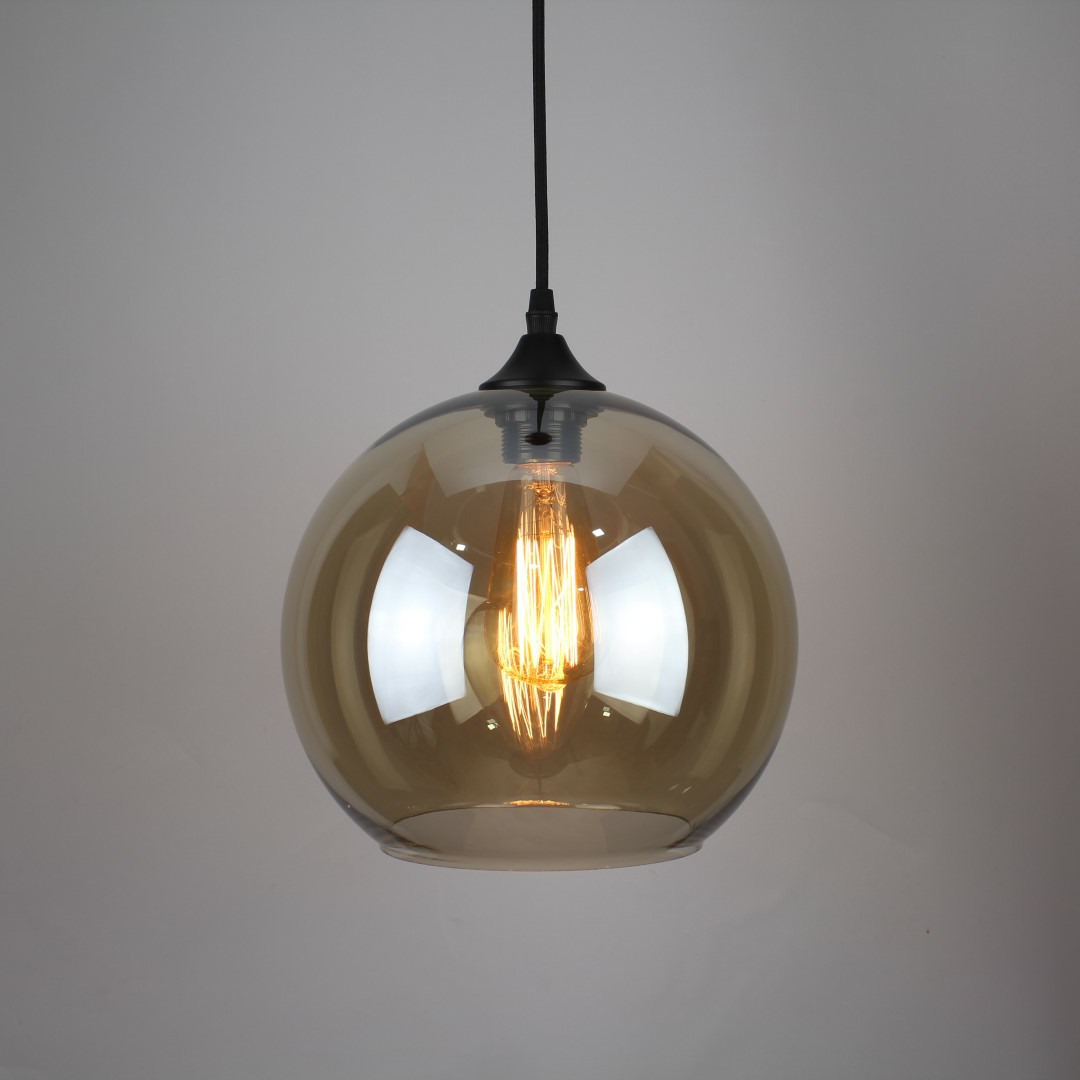 1ef0dbe5236 MODERN VINTAGE INDUSTRIAL RETRO LOFT AMBER COLORED GLASS CEILING ROUND  SHADE LIGHT ...