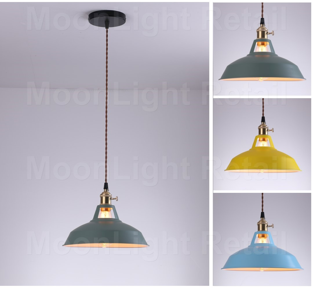 Yellow Industrial Pendant Light: Vintage Industrial Blue,Green,Yellow Metal Shade Fabric