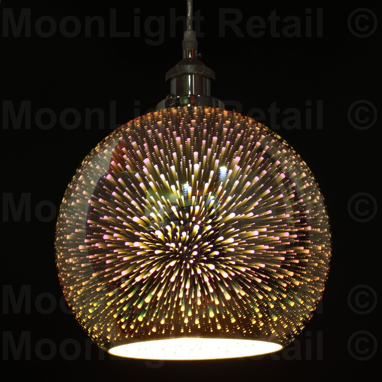 Modern 3d Colored Oberon Holographic Pendant Ceiling Light Glass Shade Multi Col
