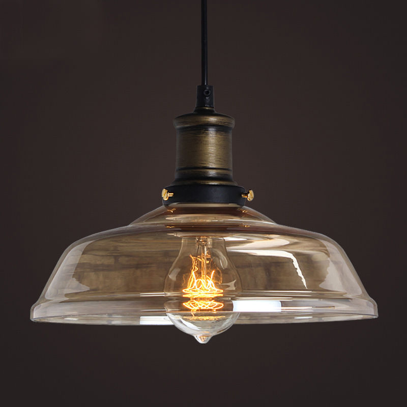 Modern vintage industrial retro loft glass ceiling lamp shade aloadofball Image collections
