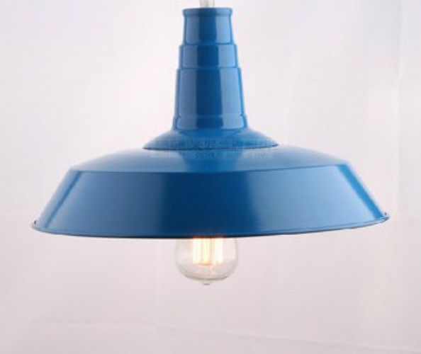 Retro Metal Pendant Ceiling Light Black White Red Blue