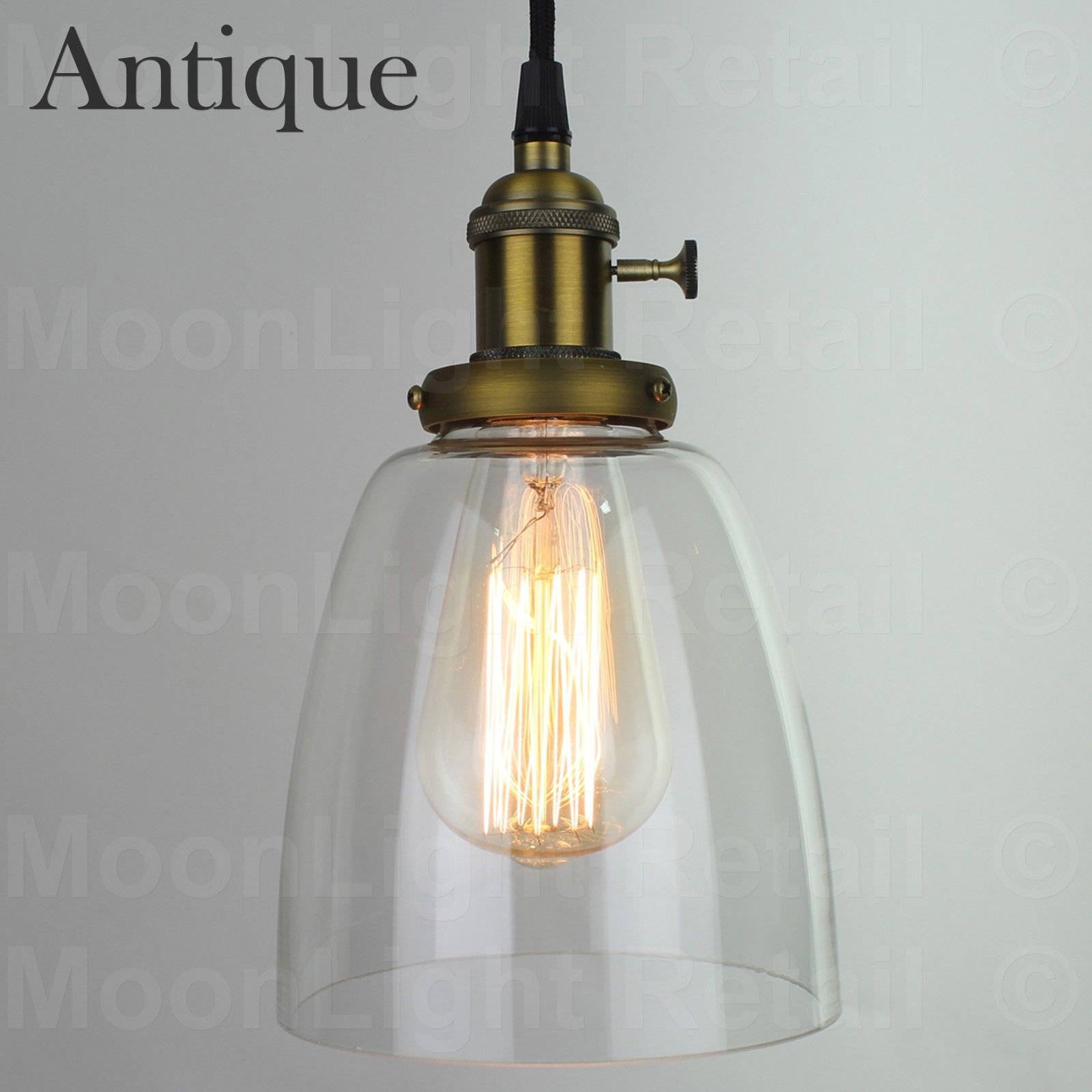 VINTAGE INDUSTRIAL CEILING LAMP CAFE GLASS PENDANT LIGHT SHADE ...