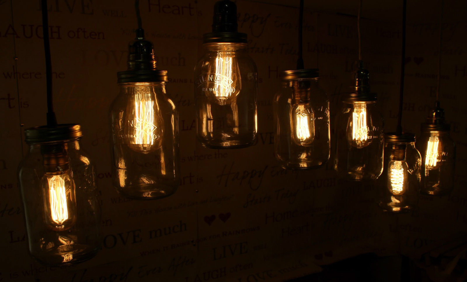 Edison Bulb Vintage Industrial Pendant Light Mason Kilner Jam Jar Rustic Lamp Ebay