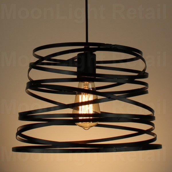 Modern Vintage Rustic Retro Black Cage Pendant Industrial Ceiling Led Loft Light