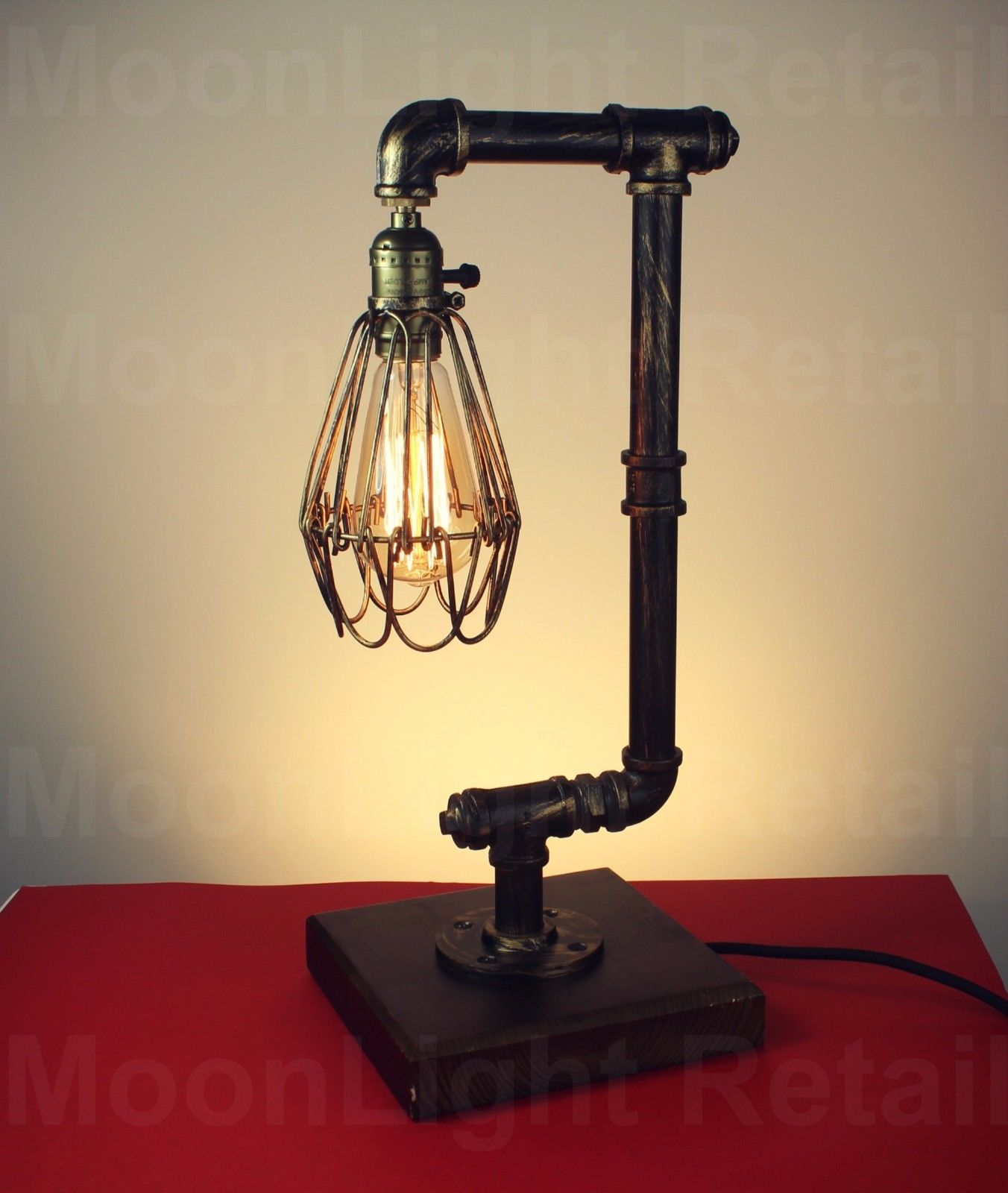 Vintage Retro Cage Steel Pipe Desk Table Lamp Light Edison Steampunk