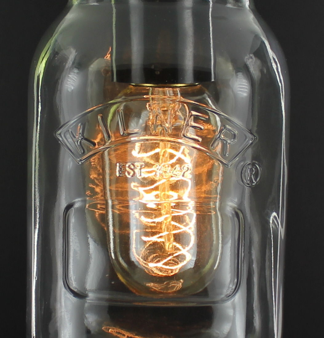 Rustic Industrial Modern Handmade Mason Jar Chandelier Rustic: Edison Bulb Vintage Industrial Pendant Light Mason Kilner