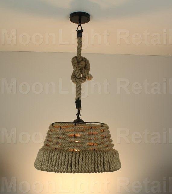 vintage ceiling lighting. Industrial Pendant Lamp Retro Vintage Edison Rope Shade Ceiling Light Lighting O