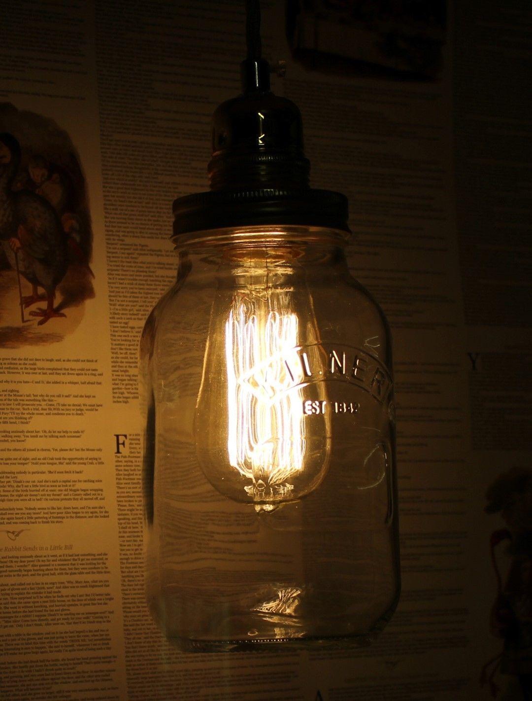 Edison bulb vintage industrial pendant light mason kilner jam jar edison bulb vintage industrial pendant mozeypictures Choice Image
