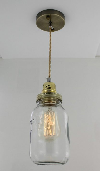 Edison Bulb Vintage Pendant Light Mason Kilner Jam Jar Rustic Lamp G1