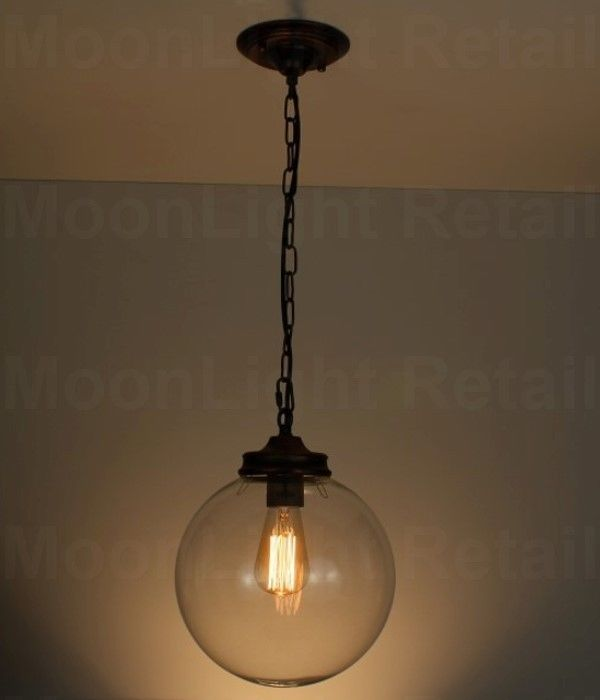 New Modern Vintage Industrial Loft Ball Glass Ceiling Lamp Pendant Light Chain Moonlight Retail