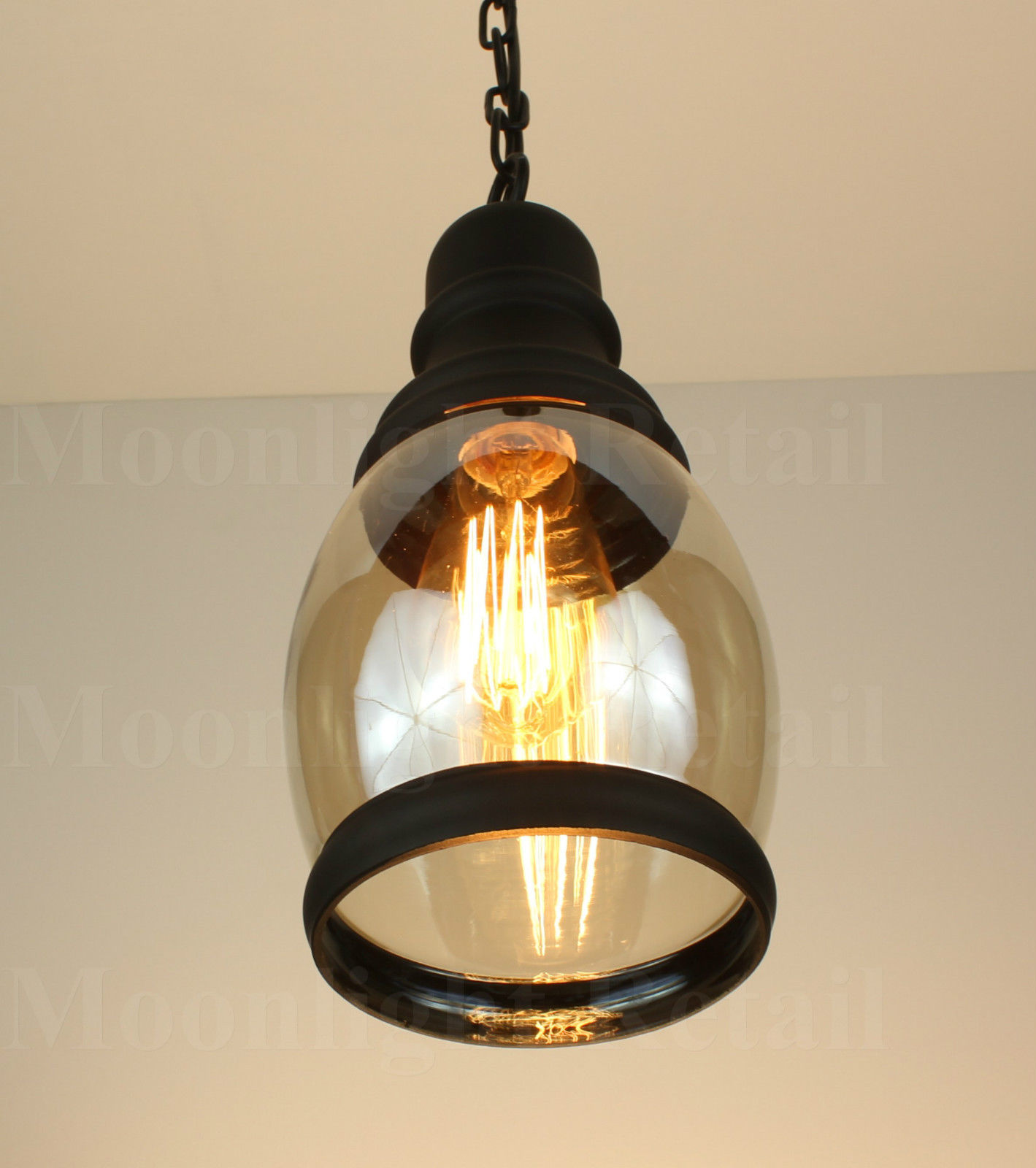 New Vintage Industrial Retro Loft Amber Glass Shade