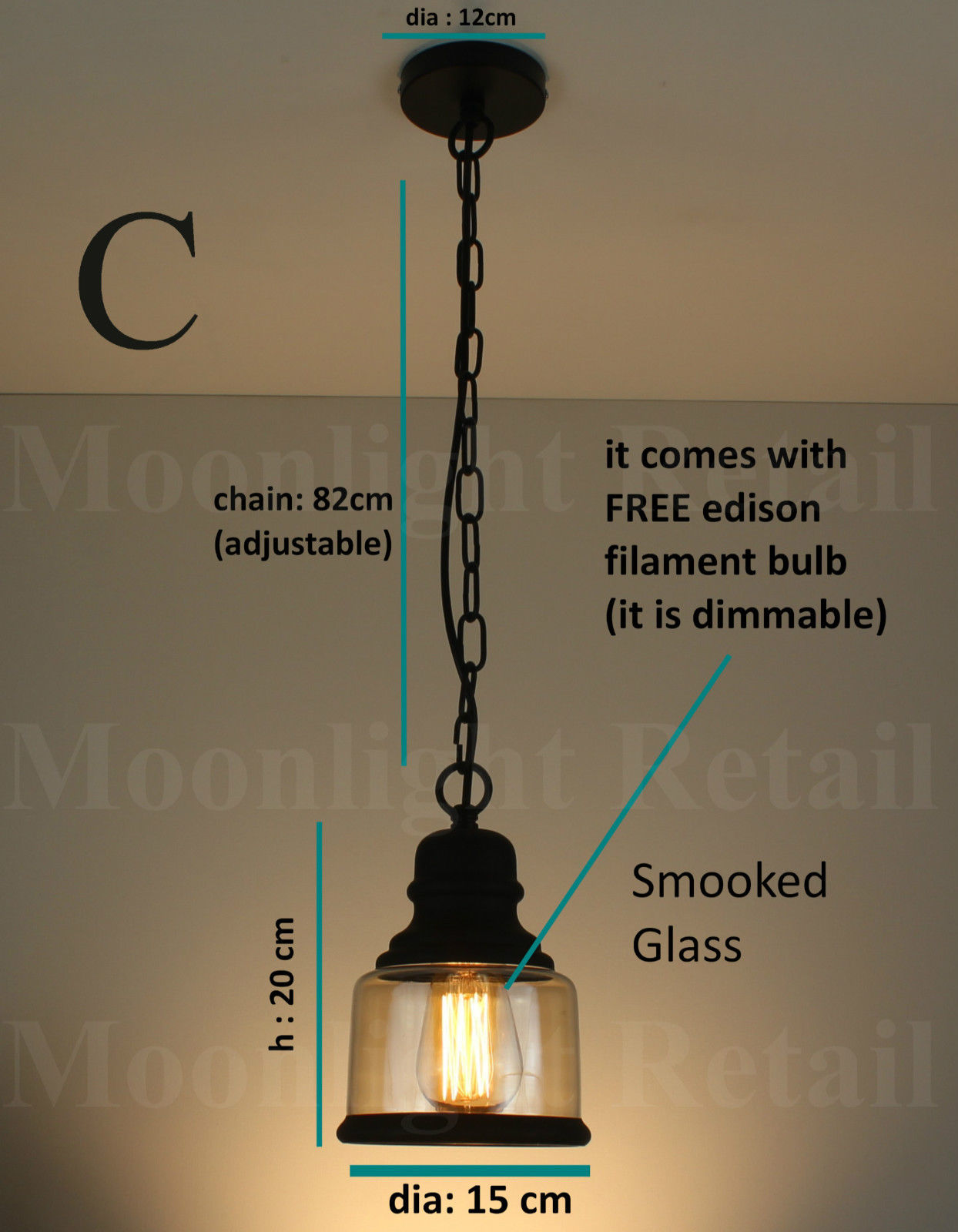 New Vintage Industrial Retro Loft Smoked Glass Shade Pendant