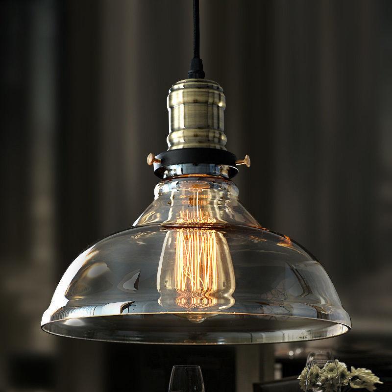 New Modern Vintage Industrial Retro Loft Glass Ceiling Lamp Shade Pendant Light Moonlight Retail