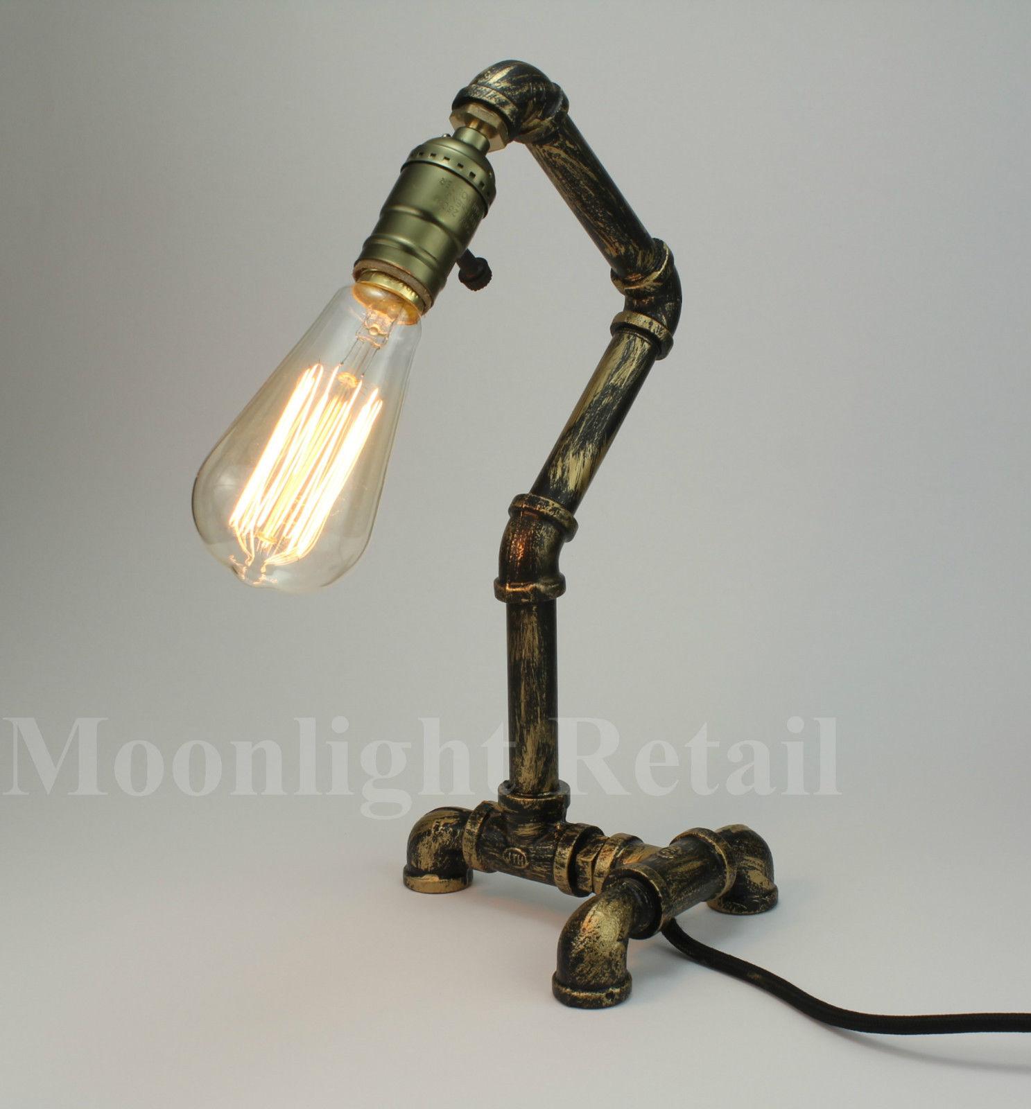 Vintage Retro Style Steel Pipe Desk Table Lamp