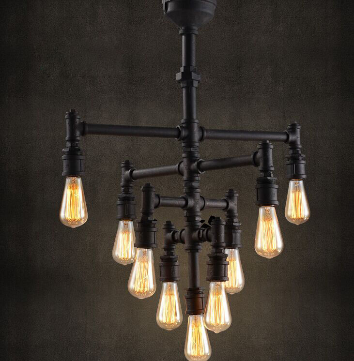 Industrial Steampunk Chandelier Lighting Iron Pipe Edison