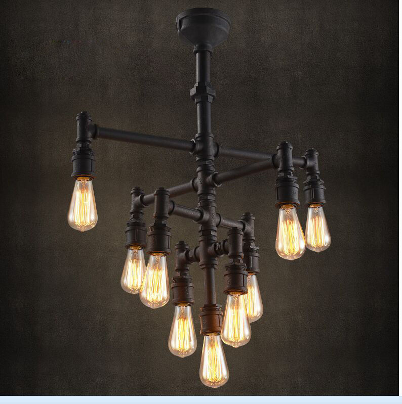 Industrial steampunk chandelier lighting iron pipe edison bulb mozeypictures Images