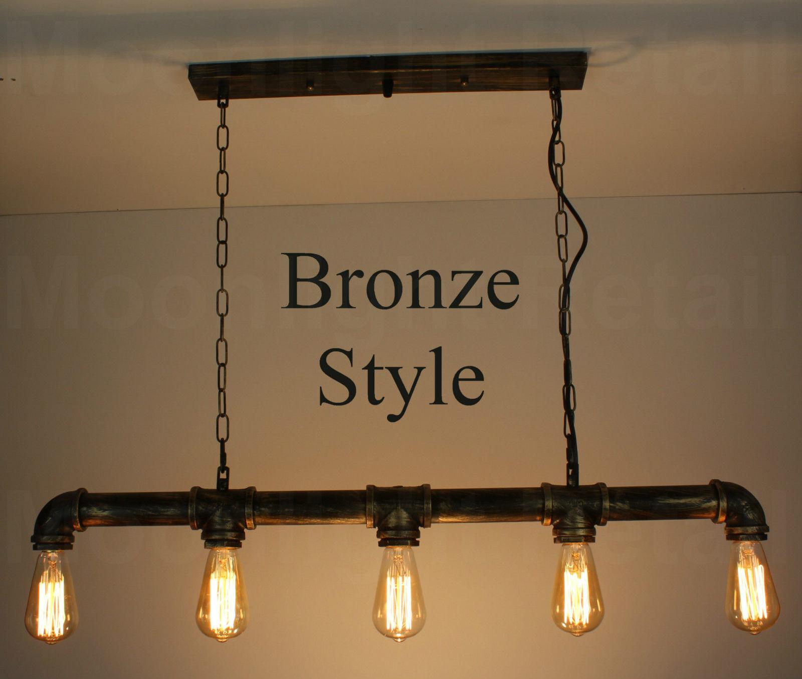 Industrial Steampunk Lighting Iron Pipe Edison Bulb Ceiling Bar