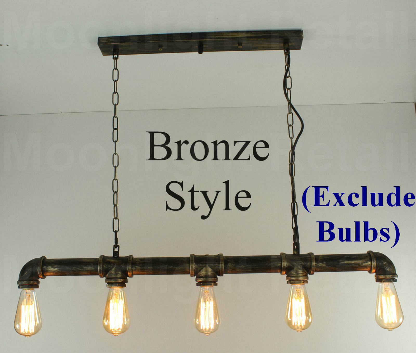 Industrial Steampunk Lighting Iron Pipe Edison Bulb Ceiling Bar ...