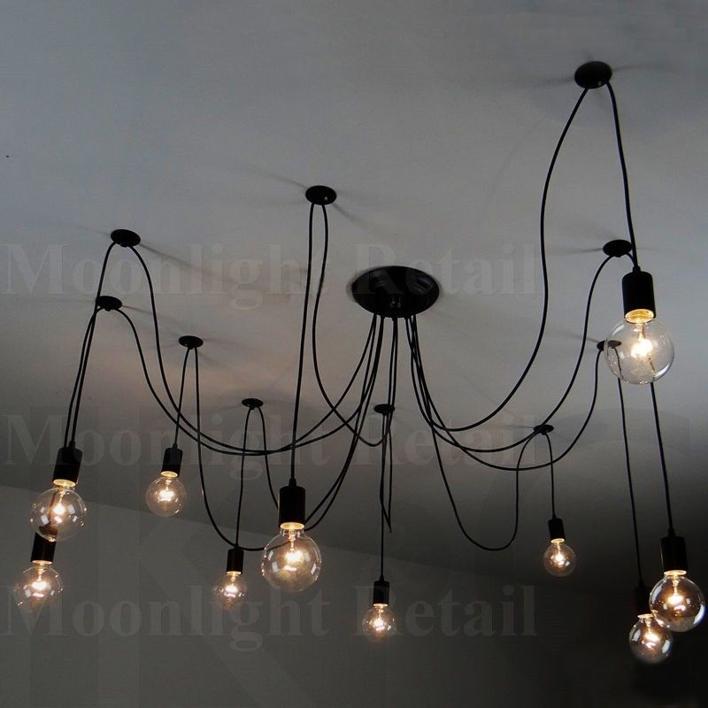 Fabric Lighting Cord Inside 10 Fabric Cord Arm Spider Light Chandelier Suspension Ceiling