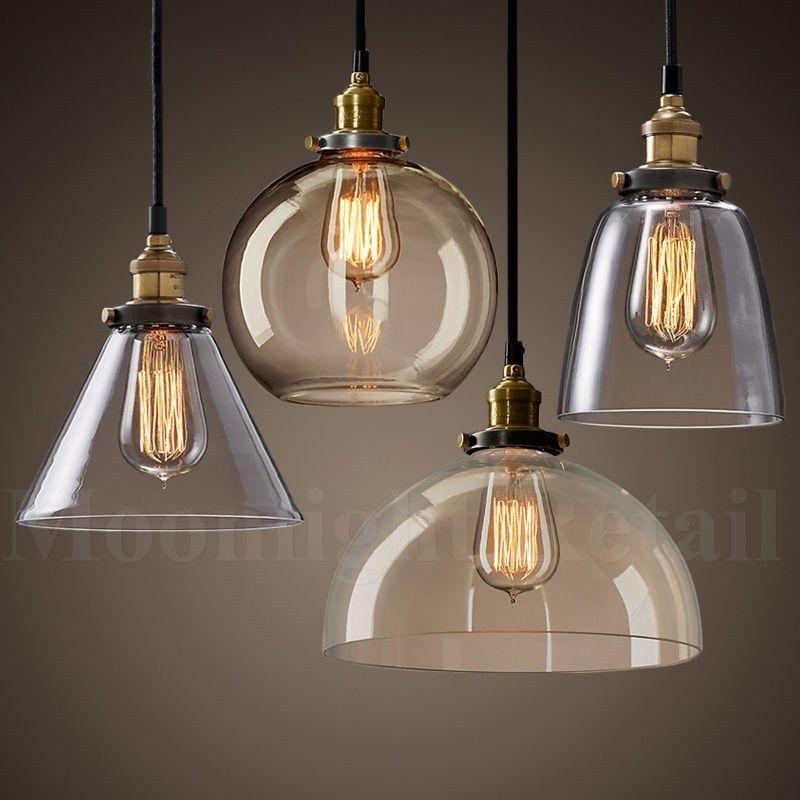 New Modern Vintage Industrial Retro Loft Glass Ceiling Lamp Shade Pendant Light Ebay