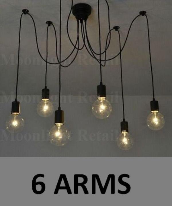 6 8 10 Fabric Cord Arm Spider Light Chandelier Suspension