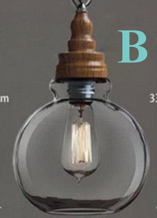 new arrival afb5e 9f497 Modern Retro Scandinavian Wooden Effect Vintage Glass Pendant Lamp Ceiling  Light