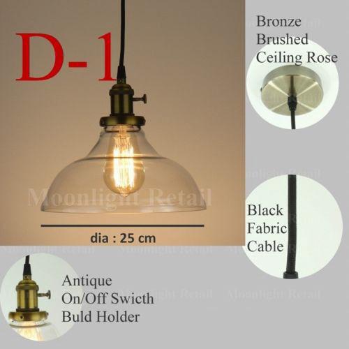 NEW MODERN VINTAGE INDUSTRIAL RETRO LOFT GLASS CEILING LAMP SHADE ...
