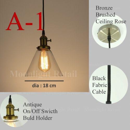 new modern vintage industrial retro loft glass ceiling lamp shade