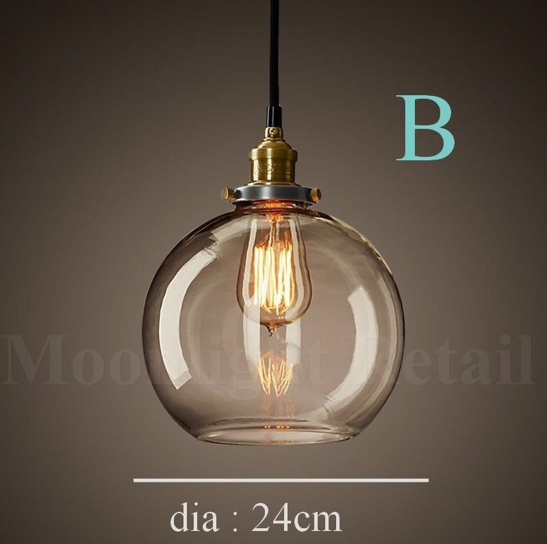 New modern vintage industrial retro loft glass ceiling lamp shade aloadofball Image collections