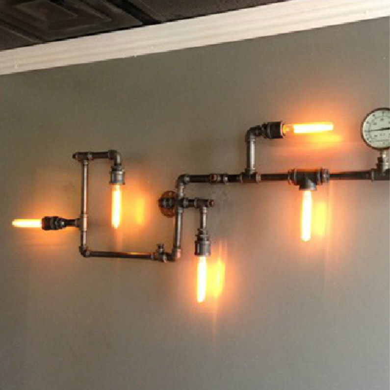 New Industrial Steampunk Wall Lamp Retro Wall Light Rustic Vintage Pipe Light Bl Ebay